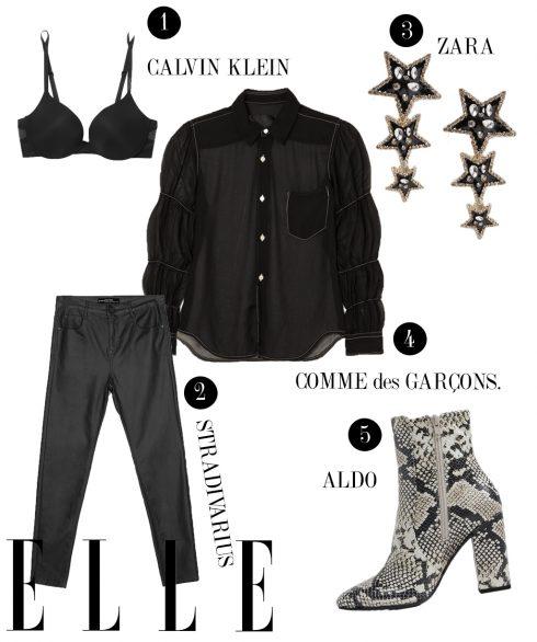 1. Áo bra Calvin Klein, 2. Quần da Stradivarius, 3. Hoa tai Zara, 4. Áo xuyên thấu Comme des Garçons, 5. Giày Boots Aldo.