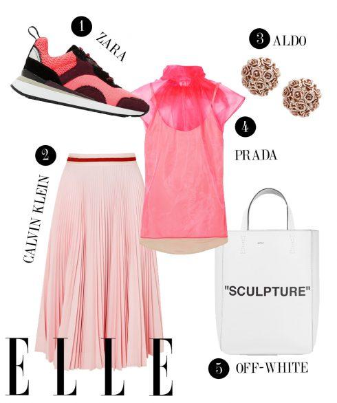 1. Giày sneakers Zara, 2. Chân váy Calvin Klein, 3. Hoa tai Aldo, 4. Áo xuyên thấu Prada, 5. Túi tote Off-White.