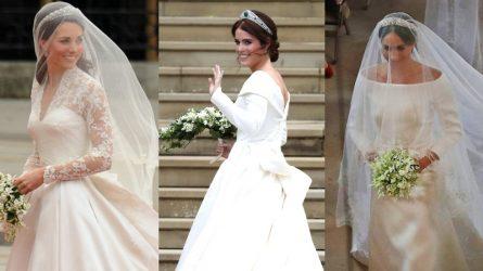 So sánh thiết kế váy cưới của Công chúa Eugenie, Kate Middleton và Meghan Markle