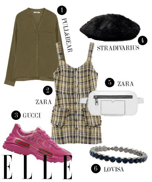 1. Áo sơmi Pull&Bear, 2. Đầm vải tweed Zara, 3. Giày sneakers Gucci, 4. Mũ lông Stradivarius, 5. Túi đeo hông Zara, 6. Vòng tay Lovisa.