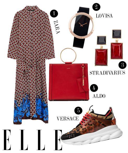 1. Đầm dài Zara, 2. Đồng hồ Lovisa, 3. Hoa tai Stradivarius, 4. Túi xách Aldo, 5. Giày dad sneakers Versace.