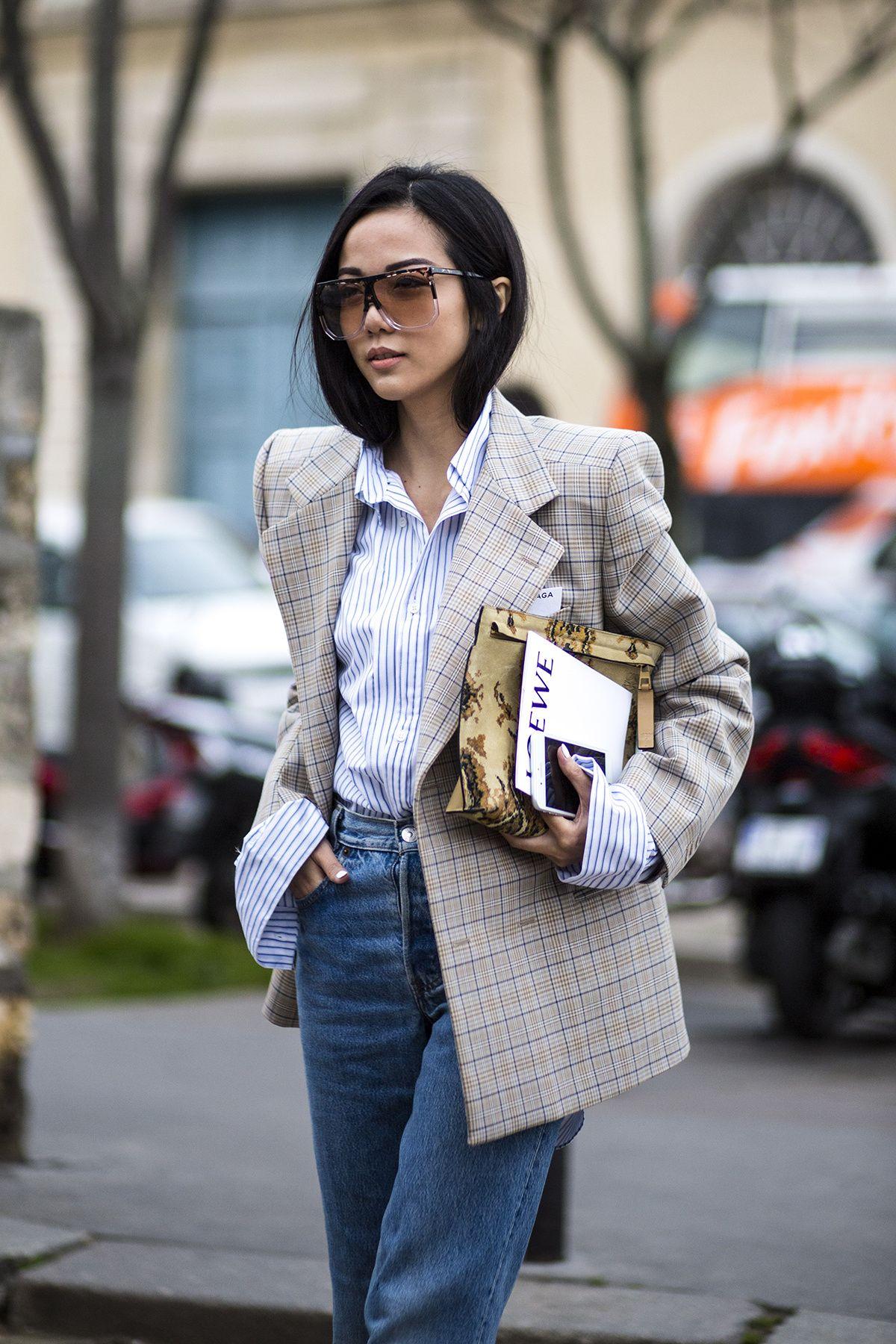 phong cách thời trang menswear áo blazer kẻ ô và sơ mi sọc