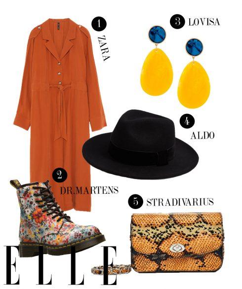 1. Đầm Zara, 2. Boots Dr.Martens, 3. Hoa tai Lovisa, 4. Mũ Aldo, 5. Túi đeo chéo Stradivarius.