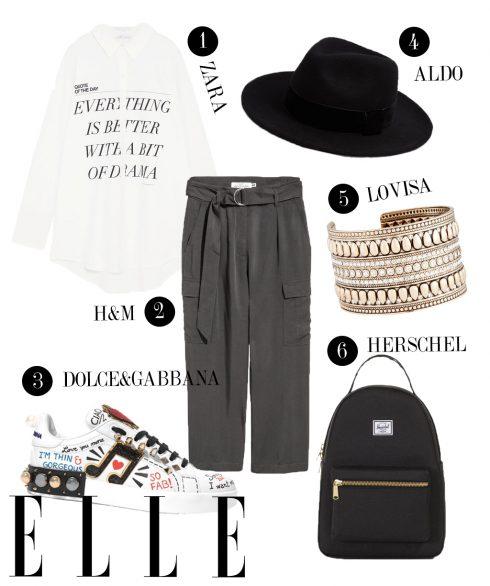1. Áo sơmi Zara, 2. Quần túi hộp H&M, 3. Giày sneakers Dolce & Gabbana, 4. Mũ Aldo, 5. Vòng tay Lovisa, 6. Balo Herschel.
