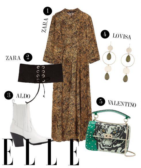1. Đầm Zara, 2. Thắt lưng corset Zara, 3. Boots Aldo, 4. Hoa tai Lovisa, 5. Túi đeo Valentino.