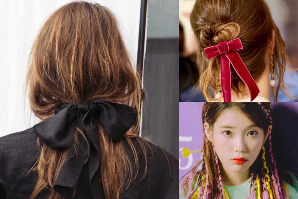 kiểu tóc đẹp cùng ruy băng