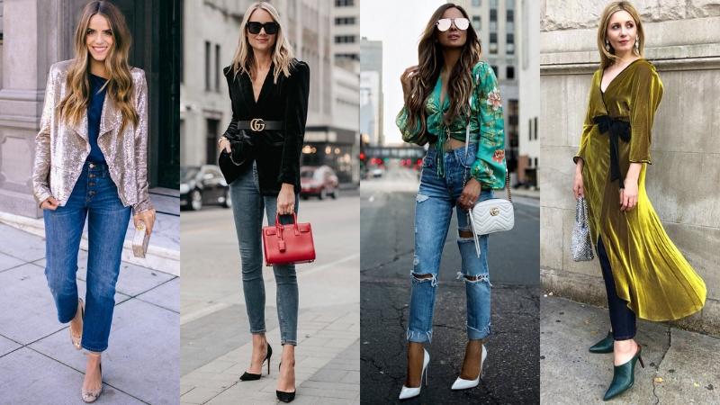 quần jeans thành trang phục dự tiệc