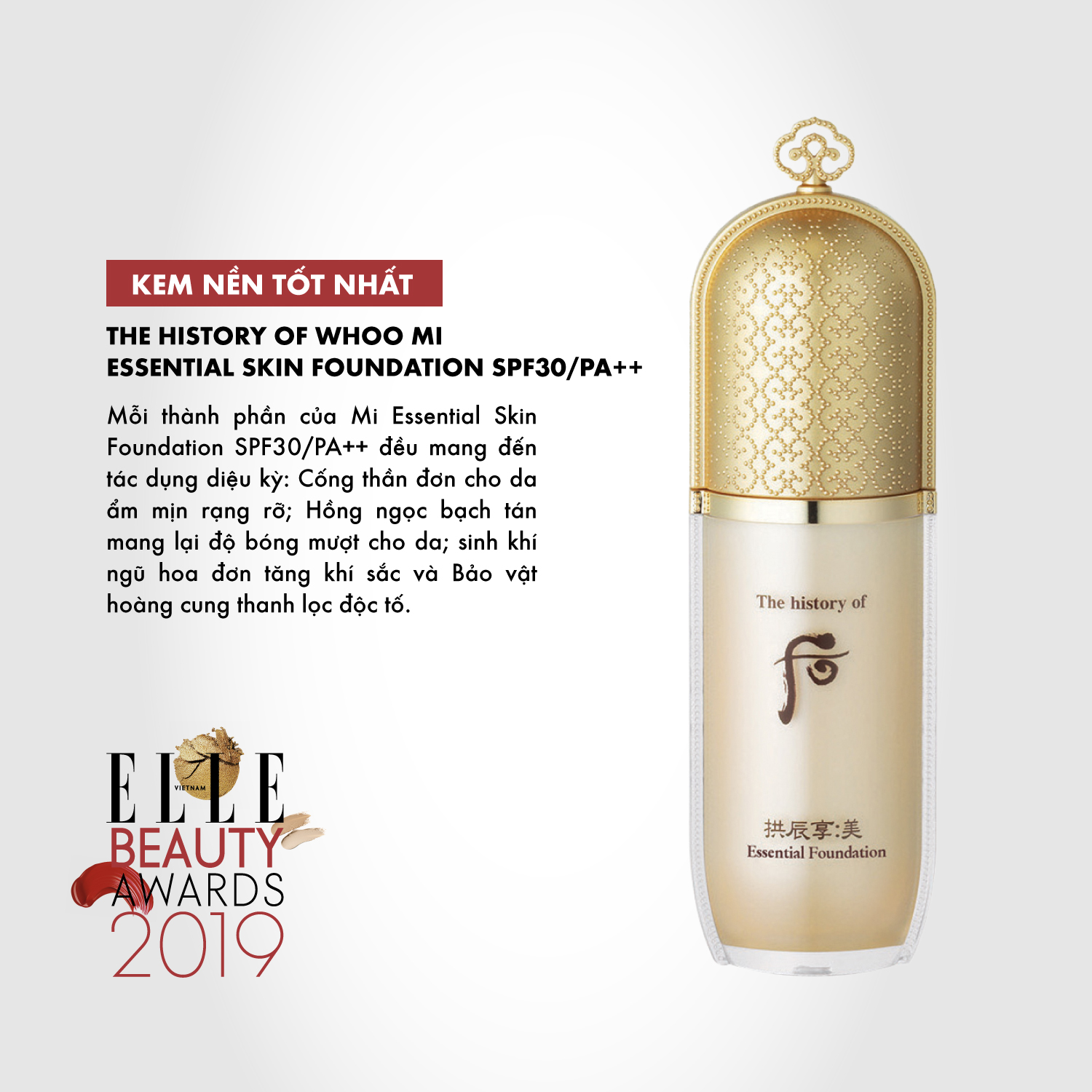 kem nền 01 ELLE Beauty Awards 2019