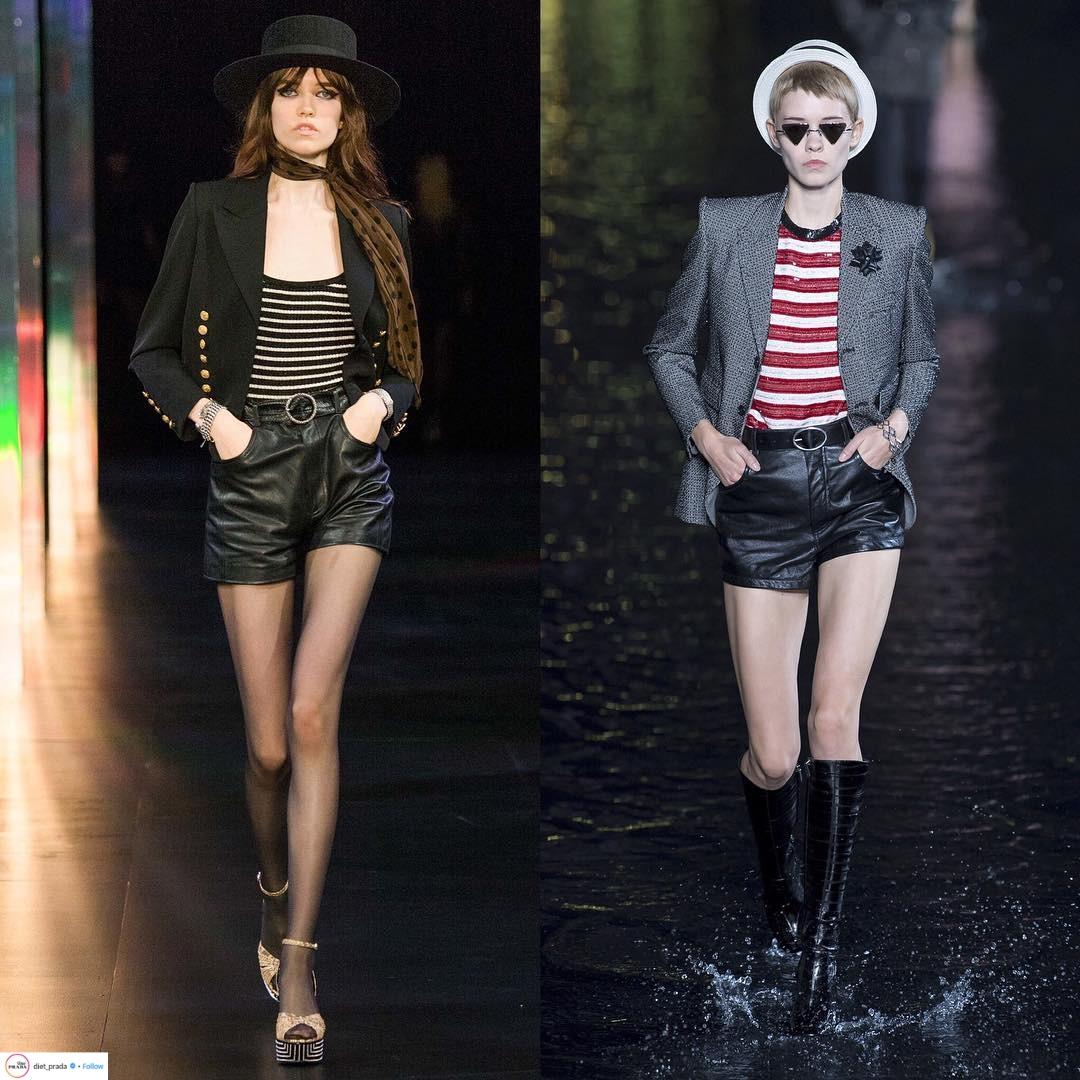 BST xuân - hè của saint laurent gồm áo blazer vai nhọn, áo sọc đỏ, quần shorts da, bốt cổ cao, kính mát và mũ