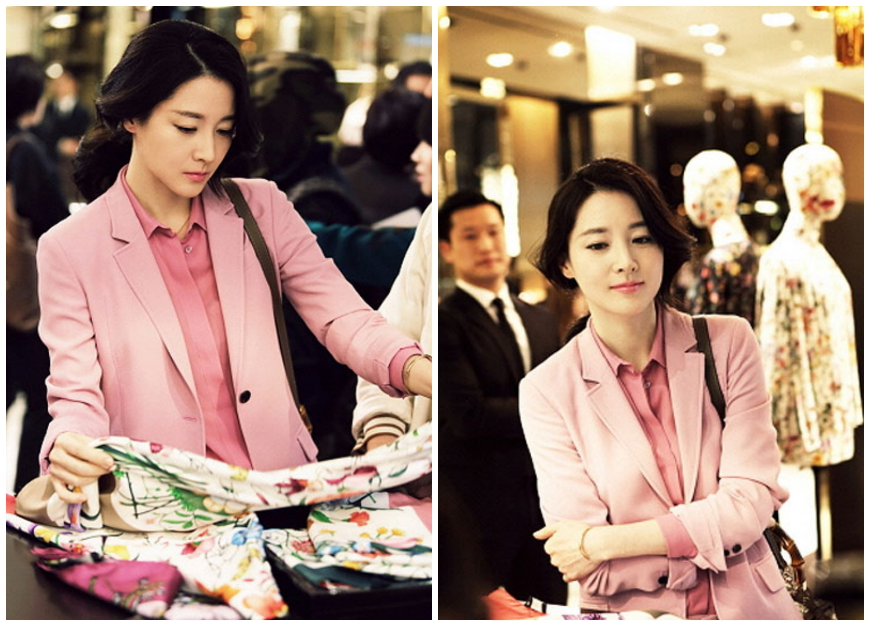 Trang phục monochrome có sự kết hợp nhiều sắc thái hồng tạo cho cô vẻ ngoài nữ tính. (Nguồn Ảnh: Kknews)