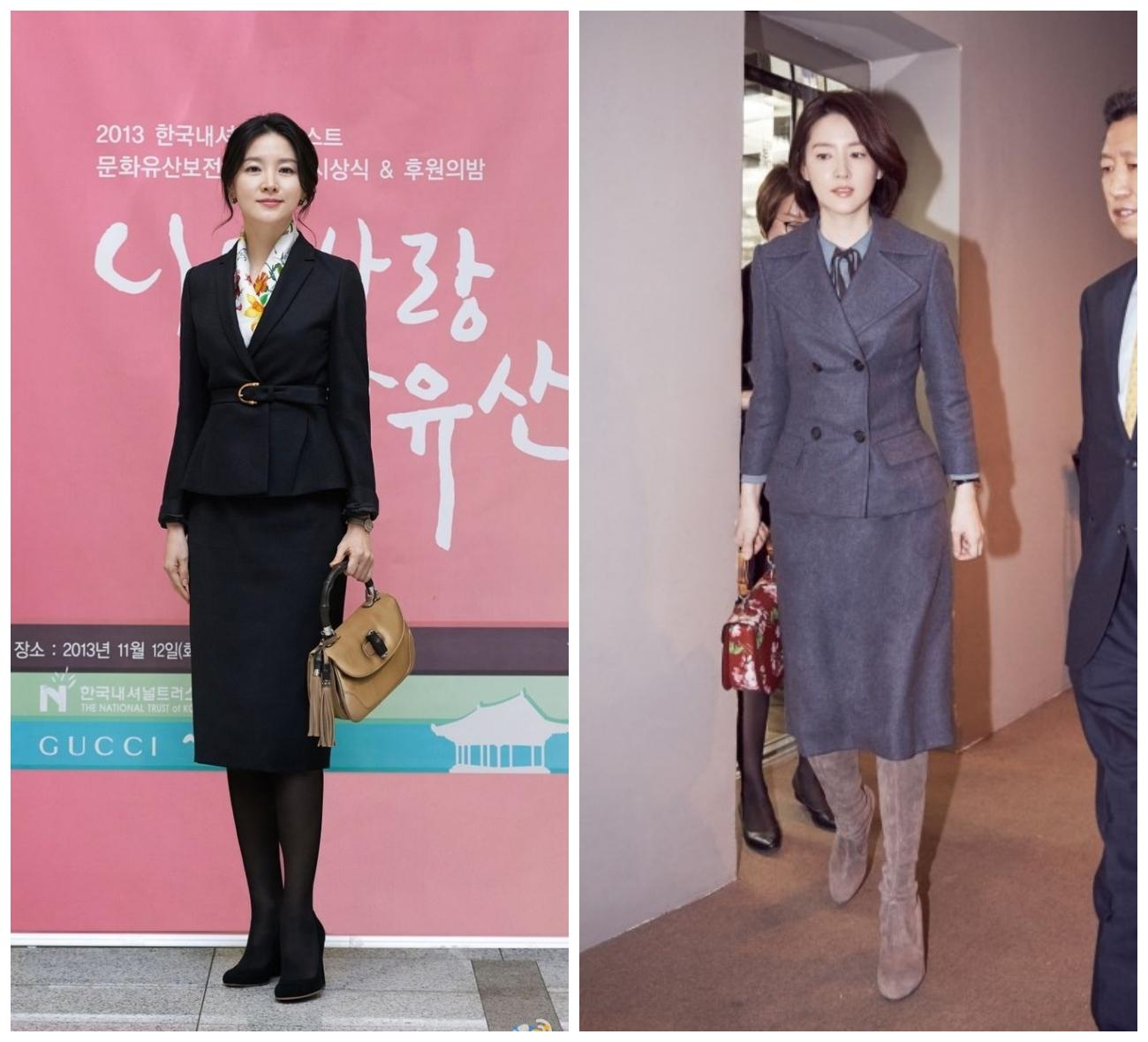 Khi diện chân váy, Lee Young Ae thường kết hợp cùng vớ da hoặc giày bốt cùng màu. (Ảnh: Daum.blog)