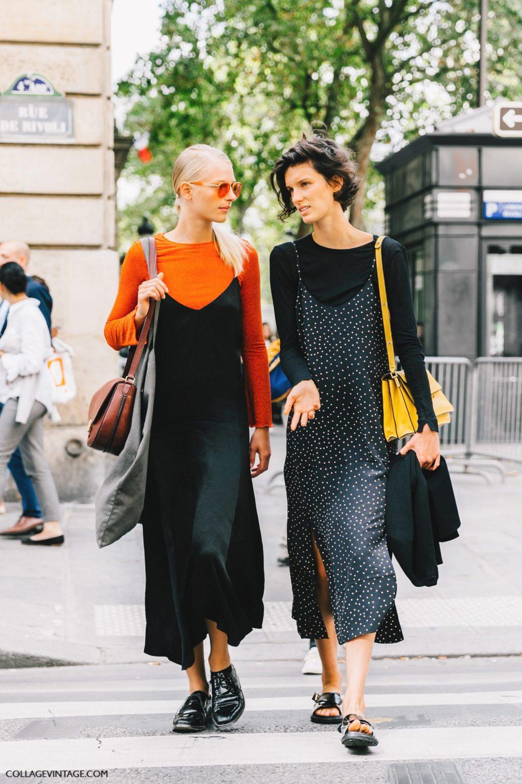 cách phối đồ ăn ý với bạn thân - hai cô gái mặt slip dress và áo tay dài