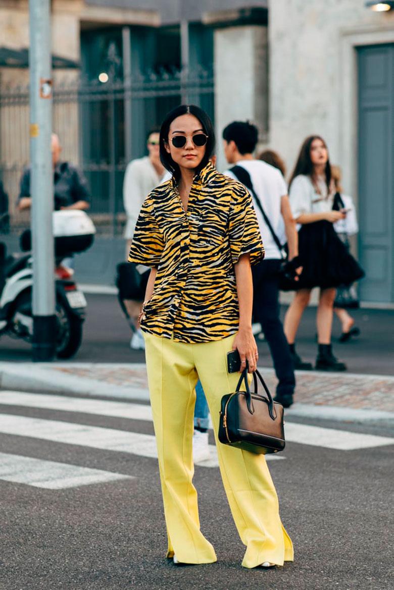 yoyo cao kết hợp áo sơmi họa tiết da hổ, quần dài màu vàng