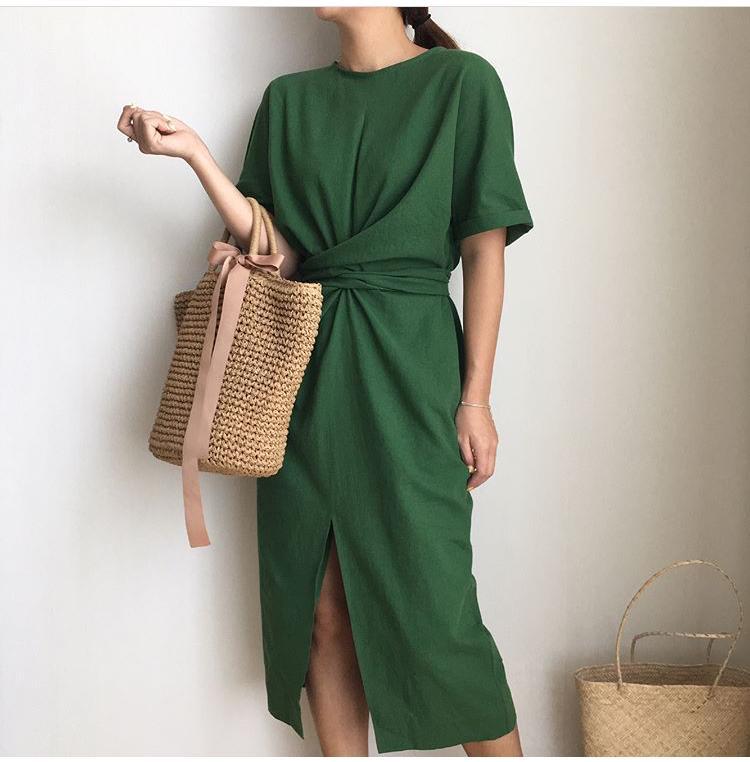 trang phục vải linen mùa Hè kiểu đầm 4