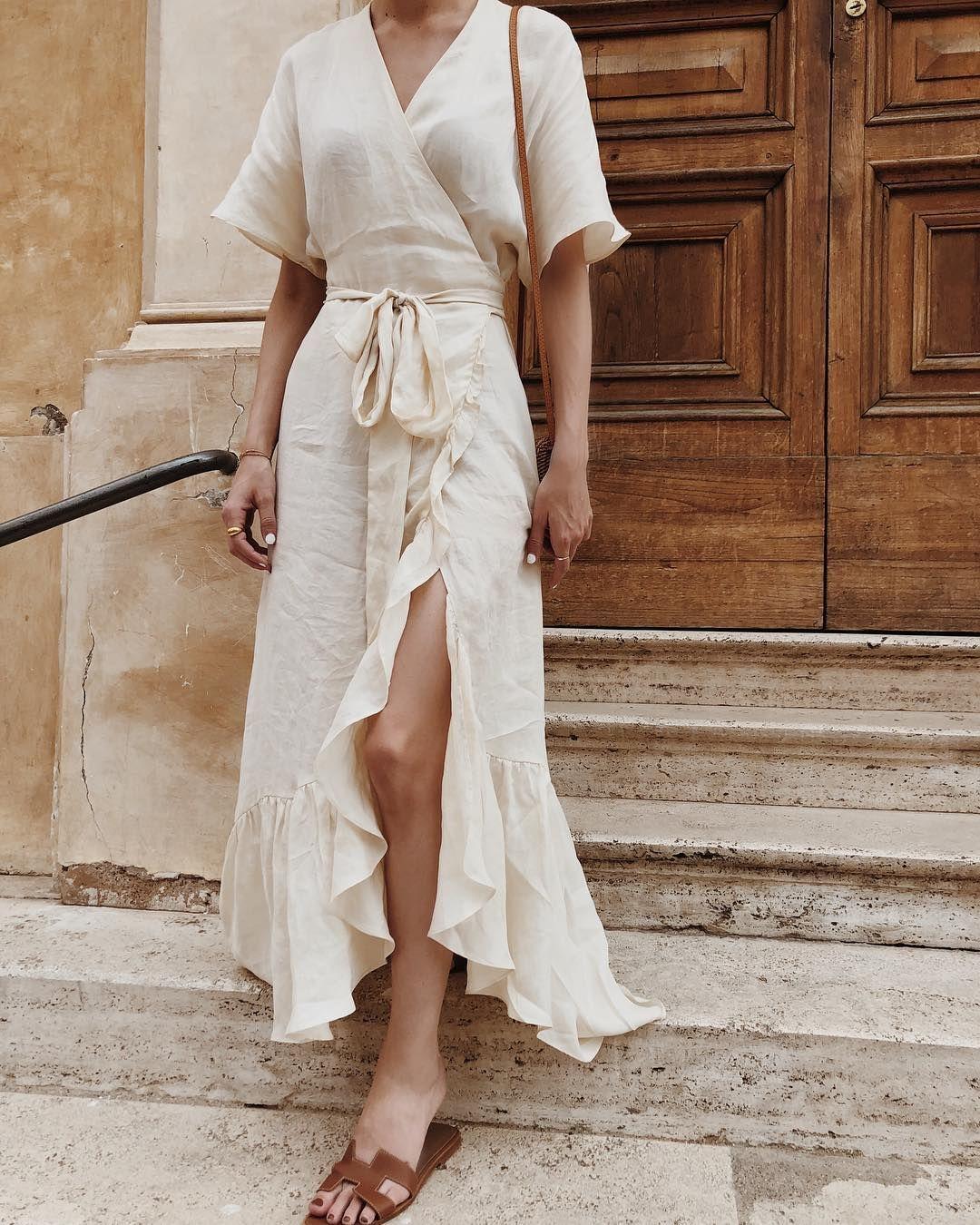 trang phục vải linen mùa Hè kiểu đầm 1