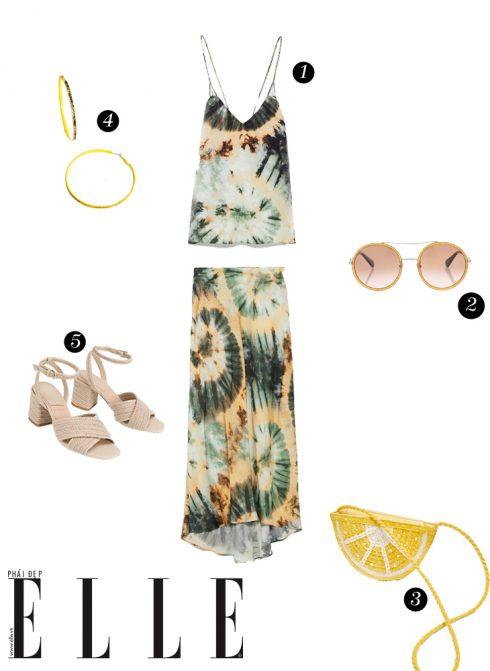 1. Áo và chân váy Zara, 2. Mắt kính Cartier, 3. Túi xách Pull&Bear, 4. Hoa tai Lovisa, 5. Giày cao gót Dune London.