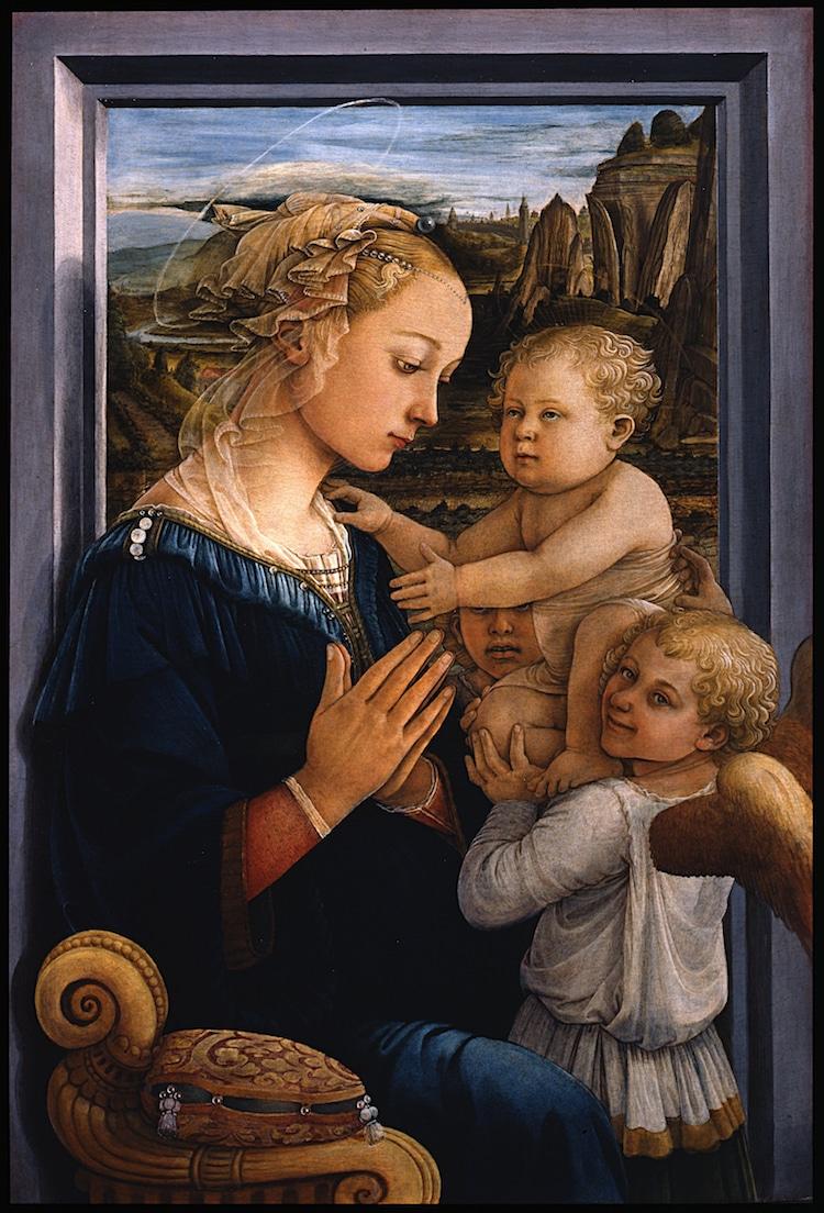 """hình ảnh thiên thần trong bức """"Madonna With Child and Two Angels"""""""