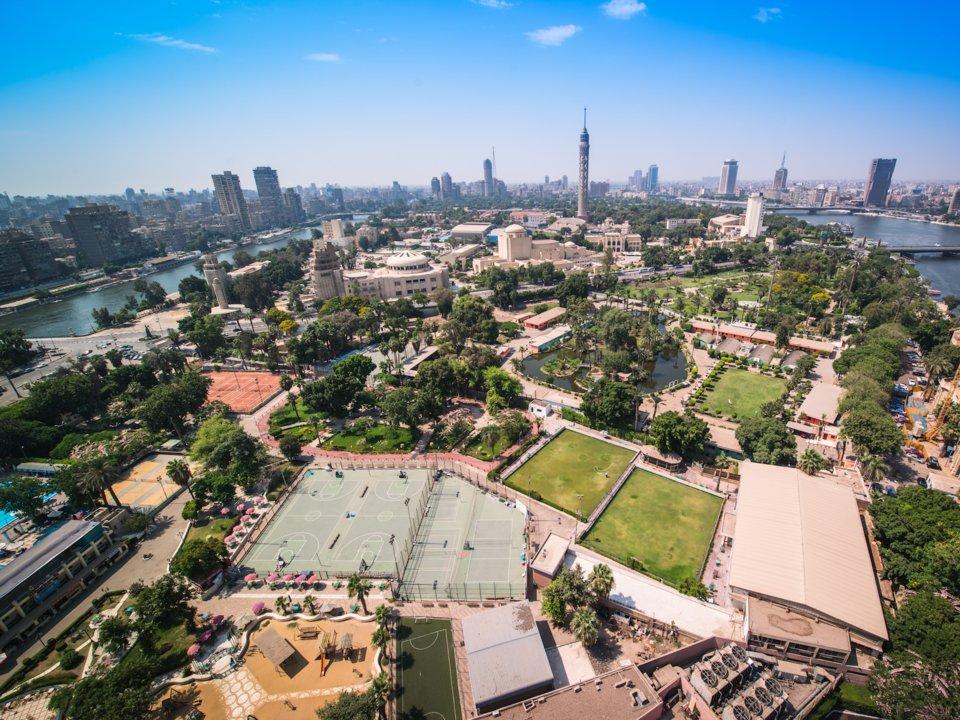 toàn cảnh khu nhà giau zamalek của cairo nhìn từ trên cao
