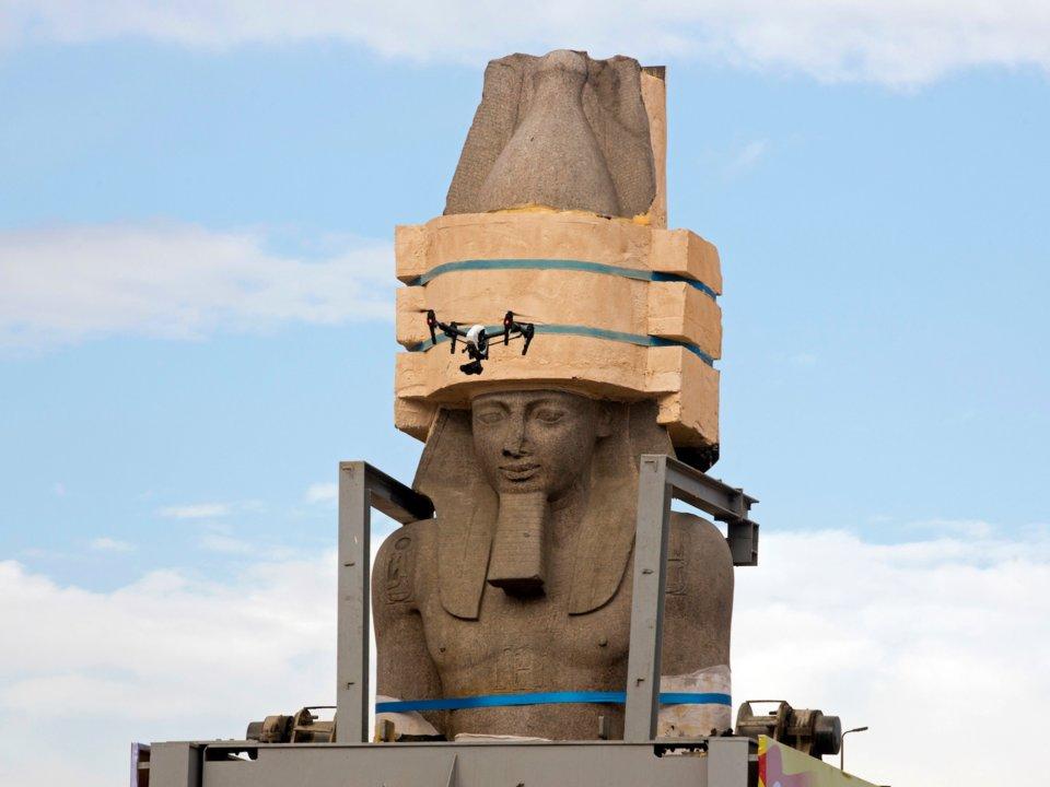 Tượng pharaon Ramses II được dời về bảo tàng Ginza