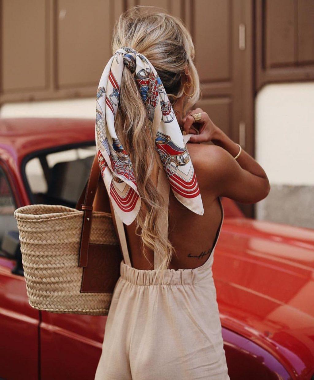 khăn turban tóc đuôi ngựa và túi cói
