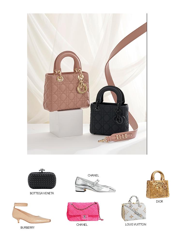 túi xách Lady Dior màu hồng và đen