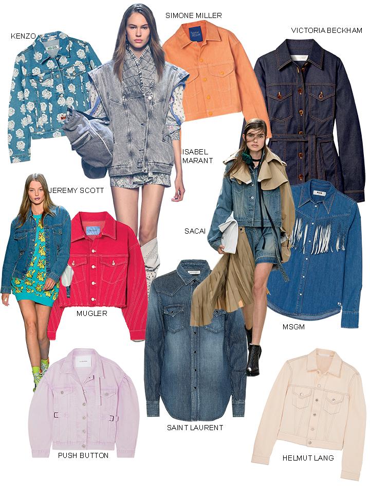 áo khoác màu sắc chất liệu denim