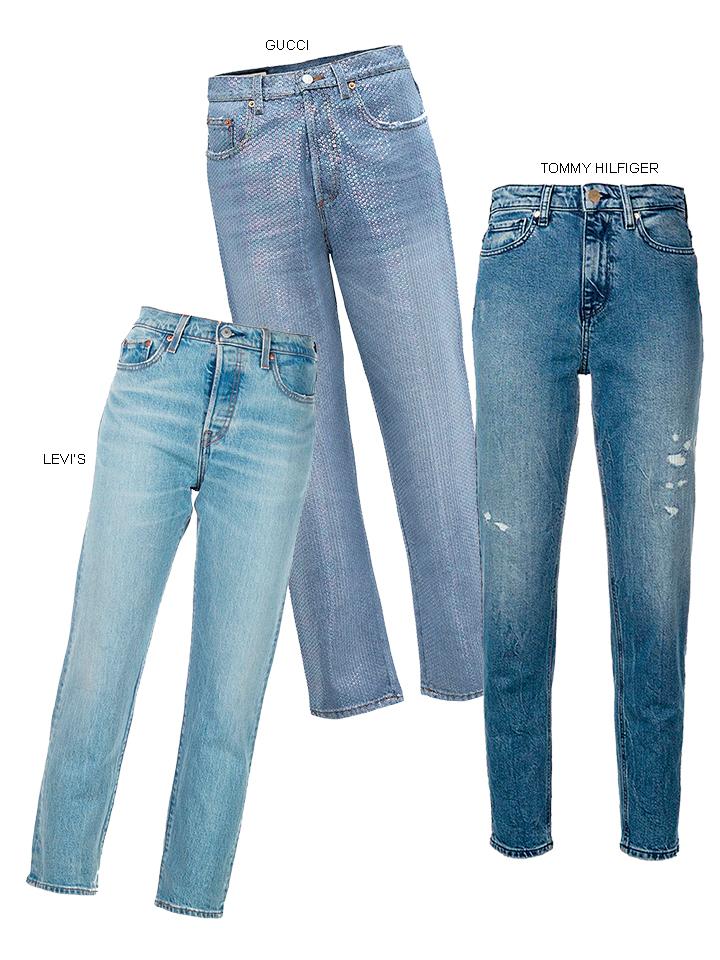 quần jeans ống đứng màu xanh