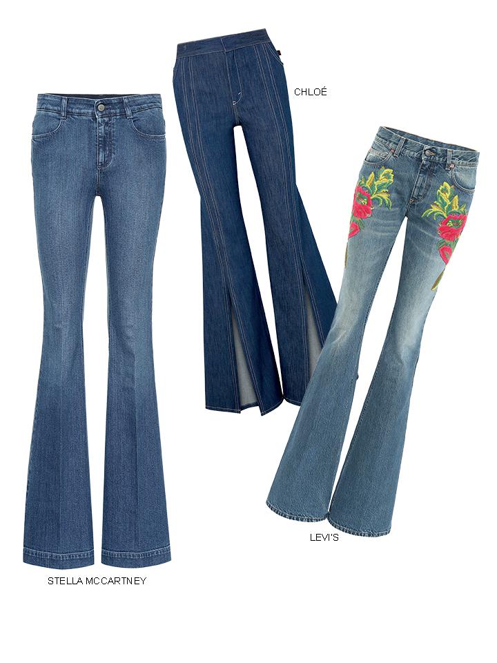quần jeans ống loe màu xanh