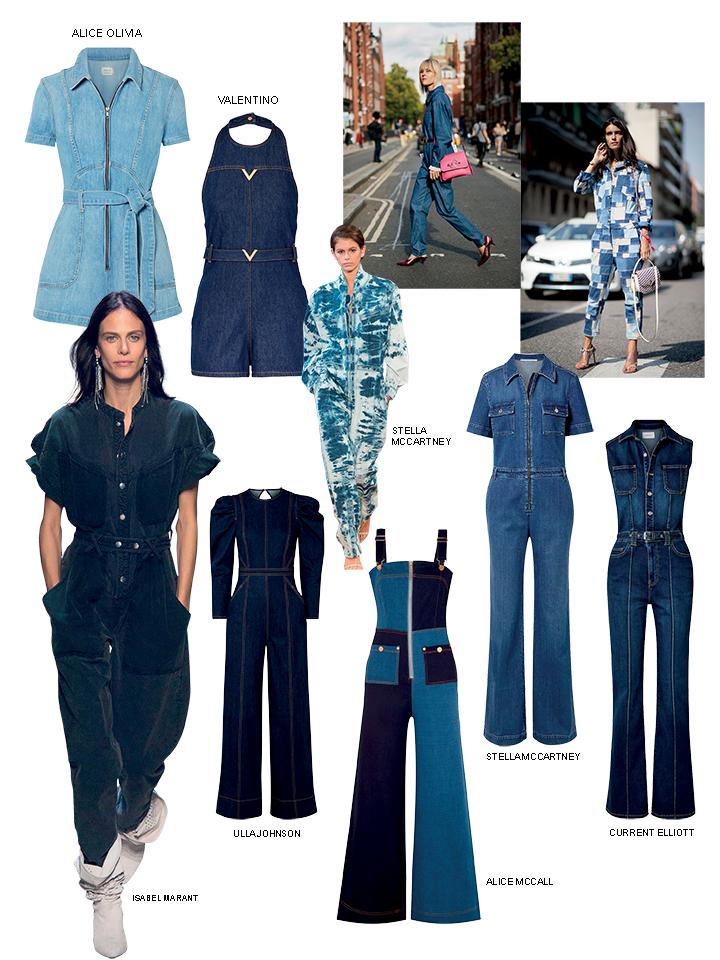jumpsuit denim màu xanh dạo phố