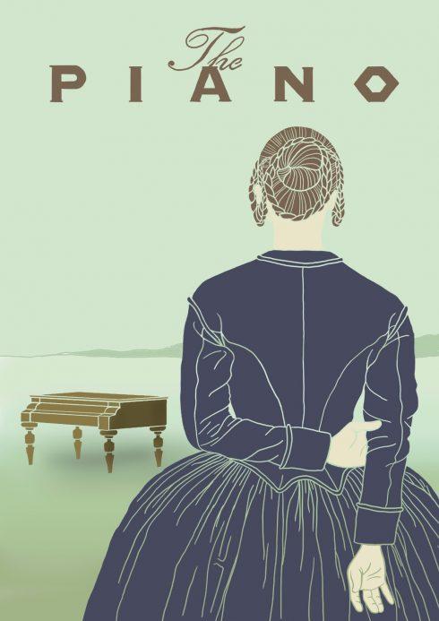 Người phụ nữ quay lưng và cây đàn piano