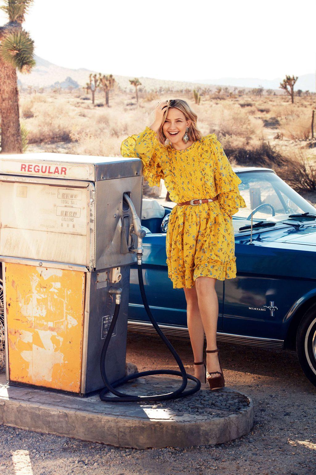 Kate Hudson diện đầm hoa vàng của dòng thời trang bền vững Happy x Nature