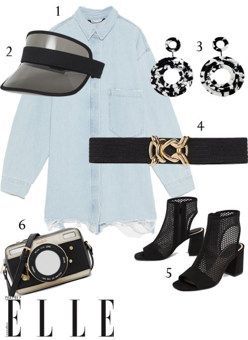 1 - Áo sơmi Zara, 2 - Mũ visor H&M, 3 - Hoa tai Lovisa, 4 - Thắt lưng Zara, 5 - Giày boots Stradivarius, 6 - Túi xách Aldo.