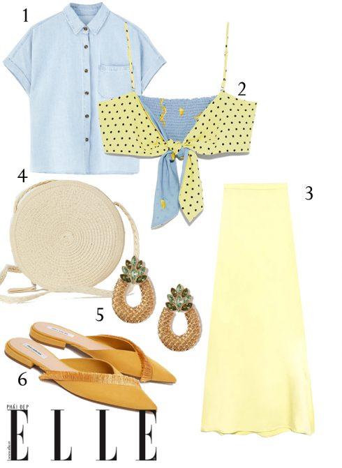 1 - Áo sơmi Pull&Bear, 2 -  Áo crop top Zara, 3 - Chân váy Stradivarius, 4 - Túi xách H&M, 5 - Hoa tai H&M, 6 - Giày mules Pull&Bear.