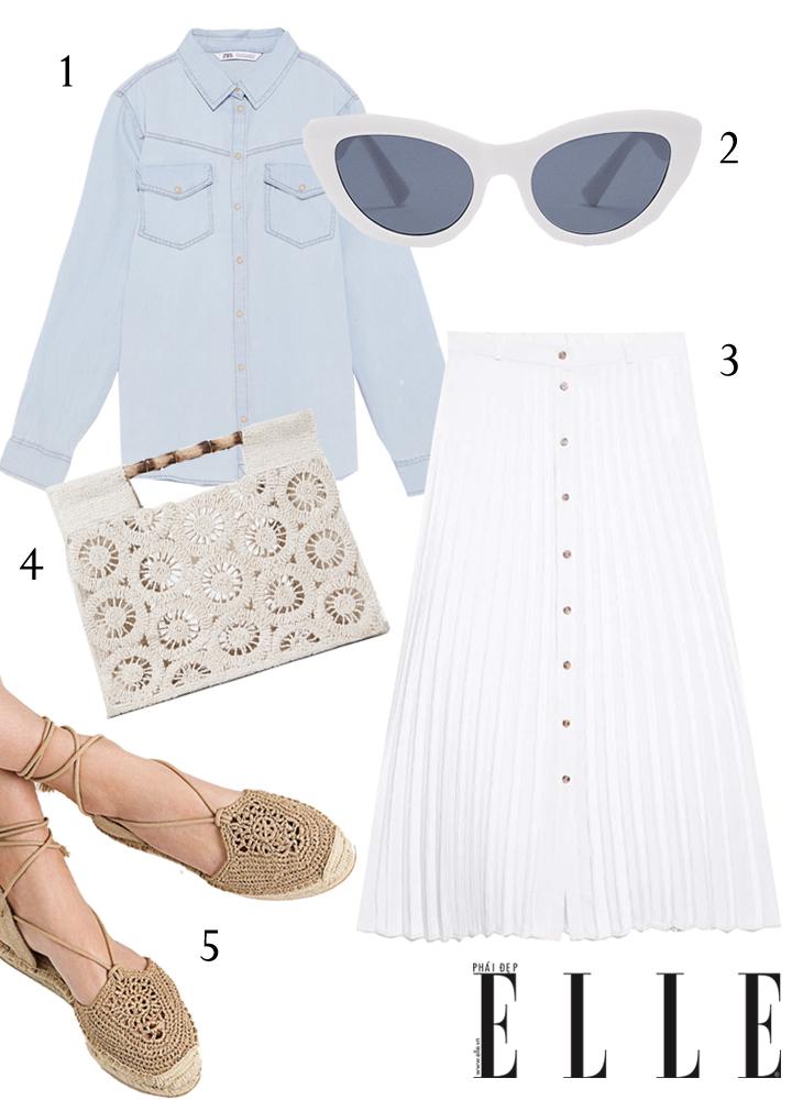 ELLE Style Calendar Áo sơ mi denim và chân váy midi màu trắng