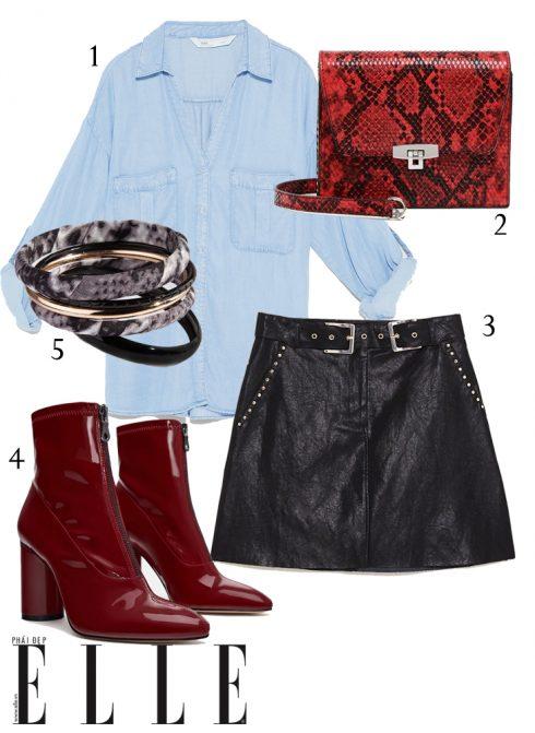 1 - Áo sơmi Zara, 2 - Túi xách H&M, 3 - Chân váy da Zara,  4 - Giày boots Zara, 5 - Vòng tay Lovisa.