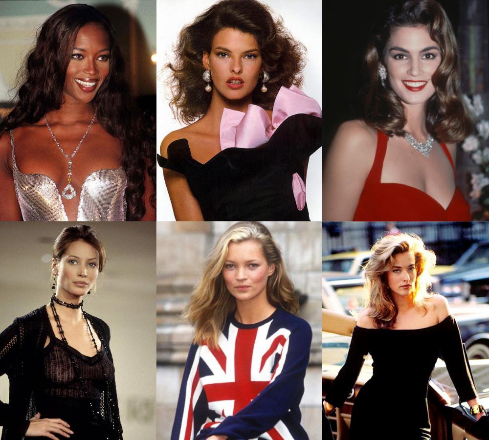 nhóm siêu mẫu big six thập niên 90 Naomi Campbell Kate Moss