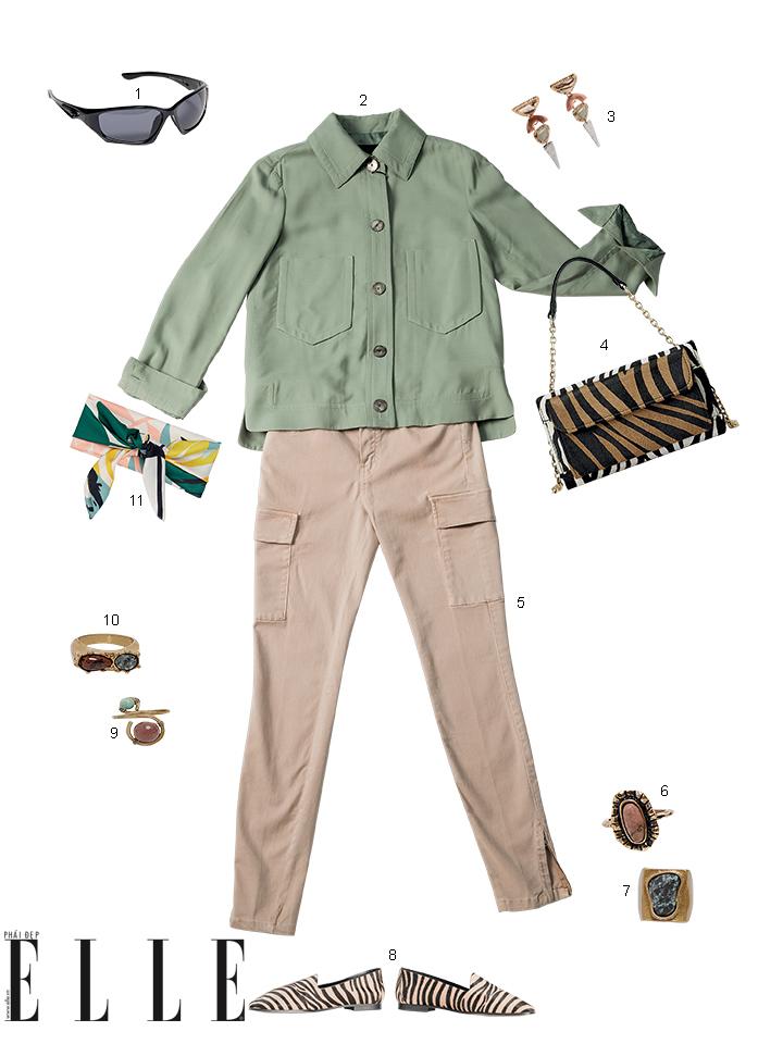 áo sơ mi denim màu rêu và quần túi hộp