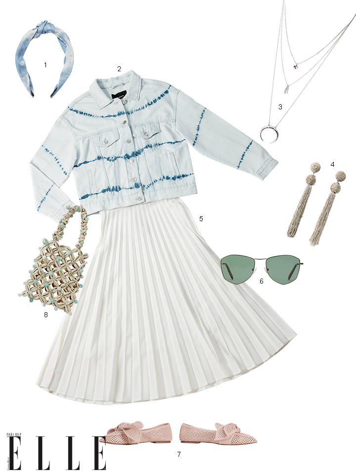 áo sơmi tie dye và chân váy midi trắng