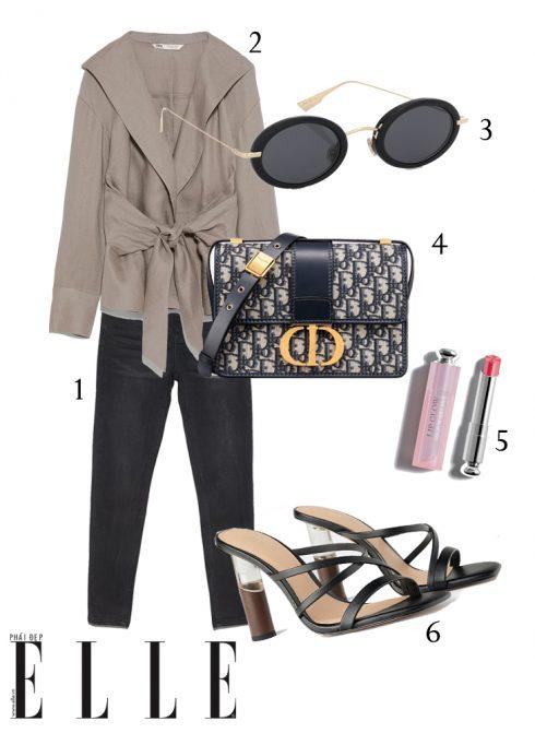 1-Quần jeans Stradivarius, 2-Áo cột nơ linen Zara, 3-Mắt kính Dior, 4-Túi Dior, 5-Son dưỡng Dior, 6-Giày cao gót Zara.