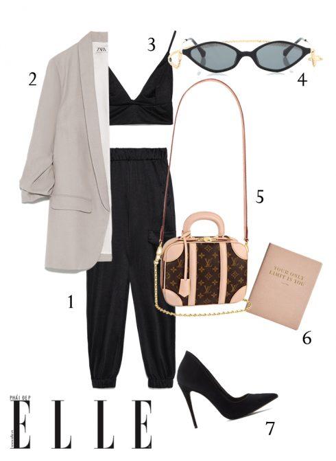 1-Quần Zara, 2-Áo blazer linen Zara, 3-Áo crop top Zara, 4-Mắt kính Alessandra Rich, 5-Túi mini luggage Louis Vuitton, 6-Sổ tay Stradivarius, 7-Giày cao gót Aldo.
