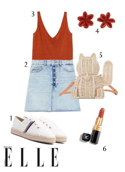 1-Giày Tommy Hilfiger, 2-Chân váy denim Zara, 3-Tank top line H&M, 4-Hoa tai Zara, 5-Túi xách Zara, 6-Son Chanel Rouge Coco Hydrating.