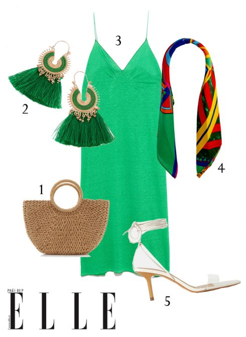1-Túi xách Dune London, 2-Hoa tai Lovisa, 3-Đầm linen Zara, 4-Khăn lụa Lovisa, 5-Giày cao gót Zara.