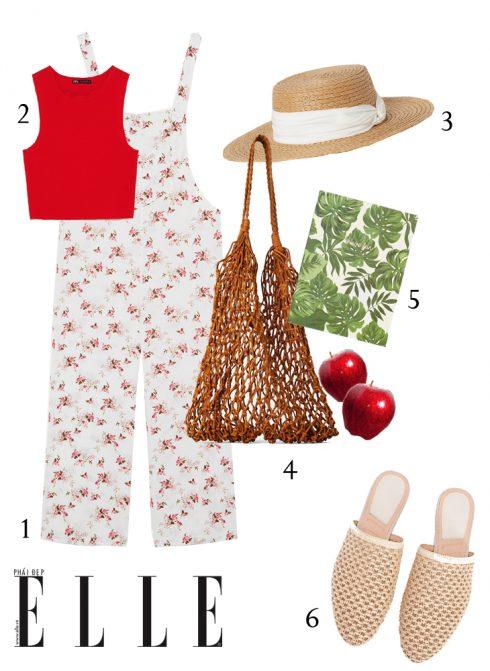 1-Jumpsuit hoa linen Zara, 2-Áo crop top Zara, 3-Mũ cói H&M, 4-Túi lưới Zara, 5-Sổ tay Stradivarius, 6-Giày mules Stradivarius.