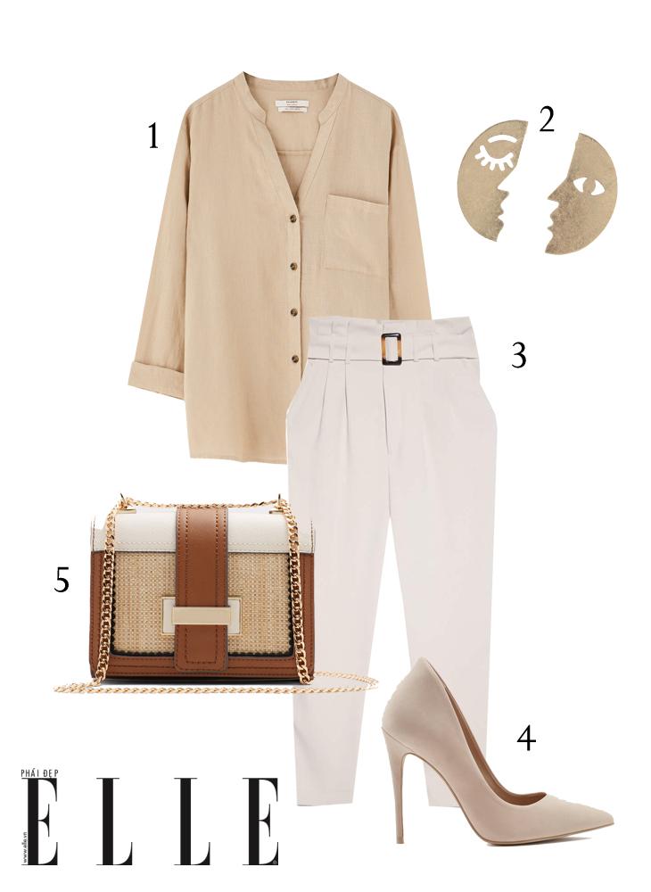 áo sơmi blazer linen và quần cạp cao