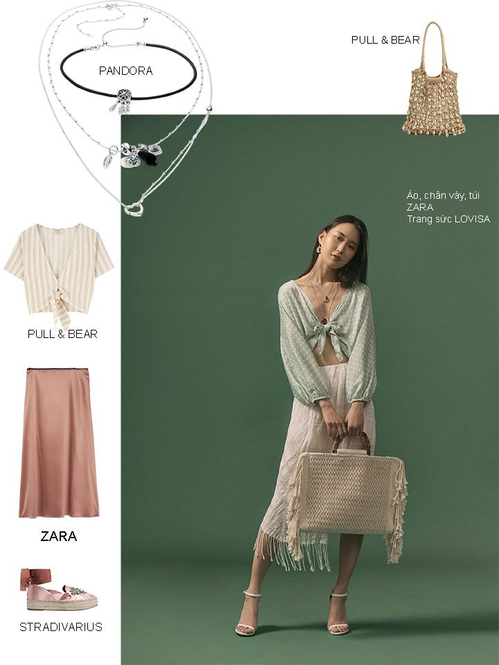 trang phục linen với áo lửng và chân váy
