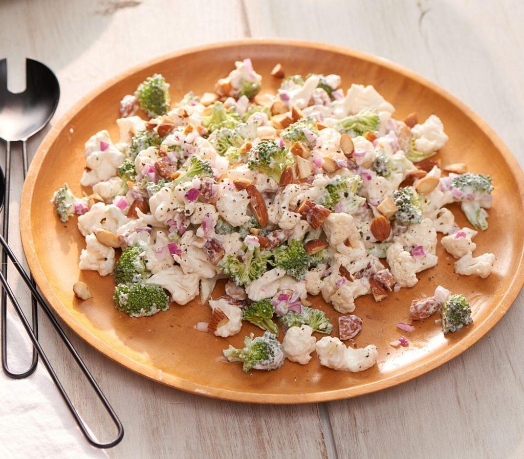 dĩa salad giảm cân súp lơ trắng