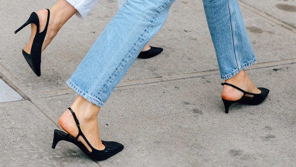 giày cao gót thấp màu đen