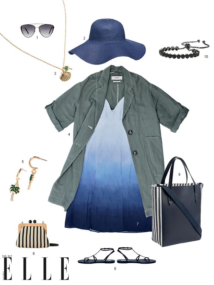trang phục tự nhiên áo khoác và đầm tie dye