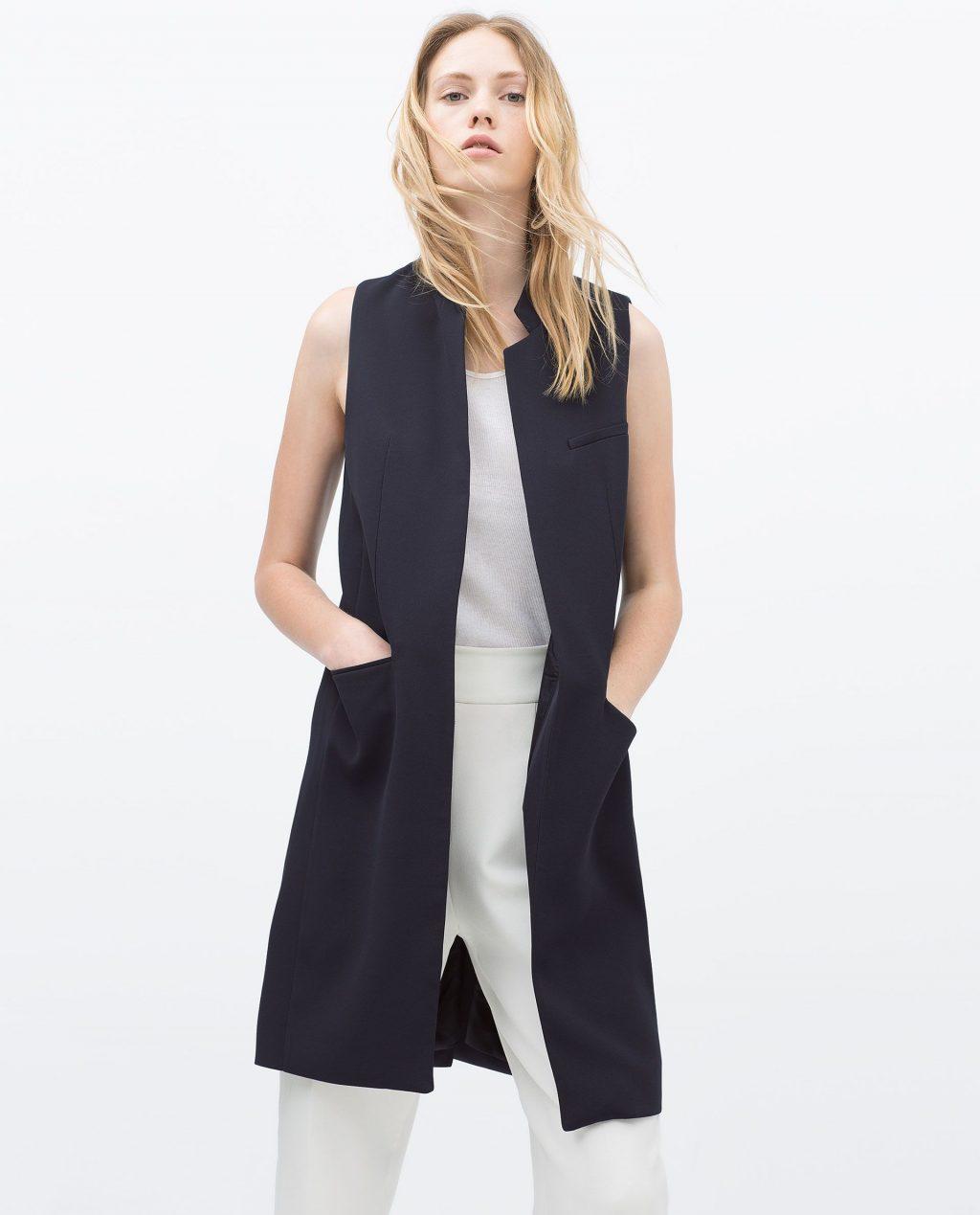 áo vest đen dáng dài dành cho nữ