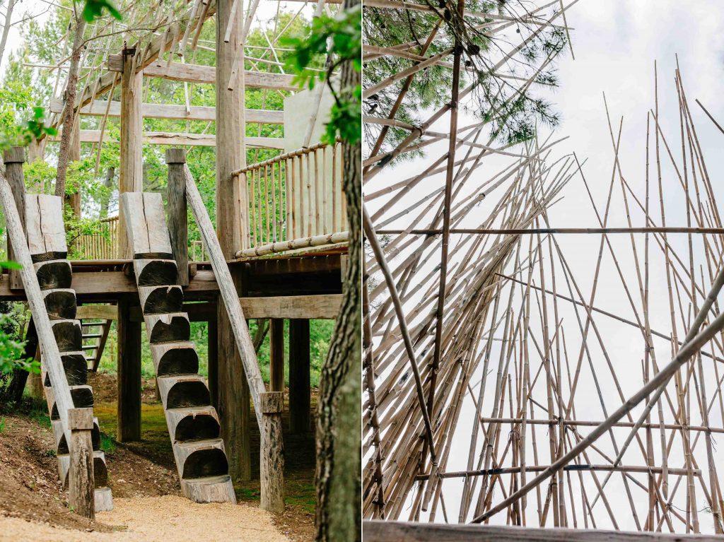 Cầu thang đặc trưng của nhà Rông và Hệ thống mái mở làm bằng tre già